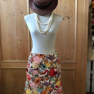 Anthropologie Floral Corduroy Mini Skirt Size 0